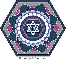 Diseño de estrella judía, vector