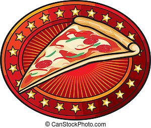 Diseño de etiquetas de pizzería
