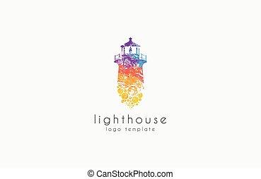 Diseño de faros. Un faro arcoíris. Logo del faro.