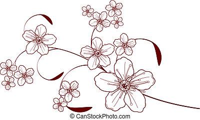 Diseño de flores de cerezo