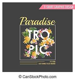 Diseño de flores tropicales para camisetas, moda, huellas en vector