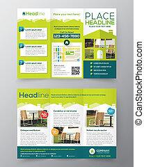 Diseño de folletos inmobiliarios vector de diseño de vectores en tamaño A4 pliegue