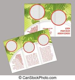 Diseño de folletos triples con mapa mundial