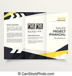 Diseño de folletos triples en estilo geométrico moderno
