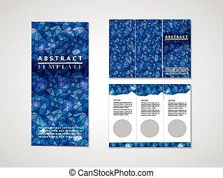 Diseño de fondo mosaico azul para el folleto tri-pliego