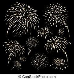 Diseño de fuegos artificiales dorados en ilustración de vectores de fondo negro