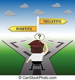 Diseño de humor metafórico, positivo y negativo concepto de señal de carretera,