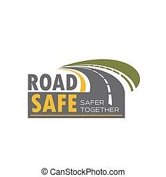 Diseño de iconos de carretera con giro de autopista