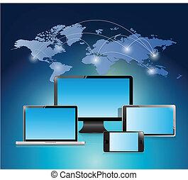 Diseño de ilustración de la red mundial electrónica