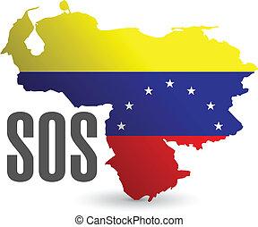 Diseño de ilustración de mapas de Sos Venezuela