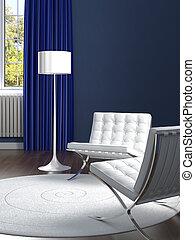 Diseño de interior clásico azul con sillas blancas