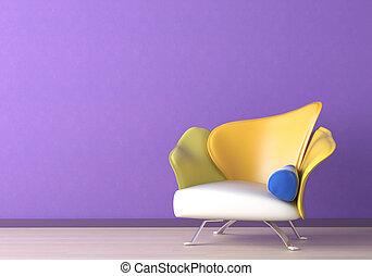Diseño de interior con sillón en la pared violeta