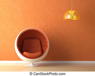 Diseño de interior de pared naranja