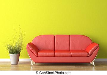 Diseño de interior rojo sofá en verde