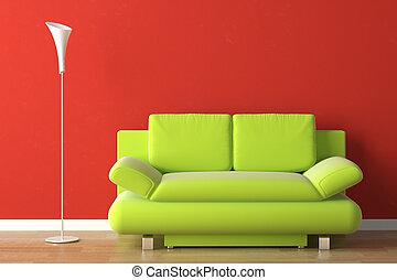 Diseño de interior verde sofá en rojo