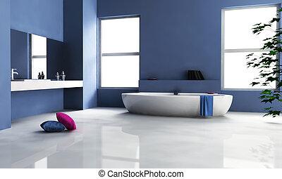 Diseño de interiores de baño azul