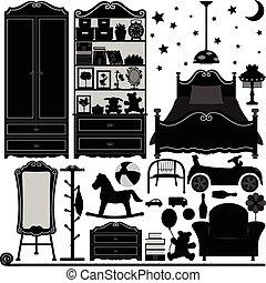 Diseño de interiores de dormitorio