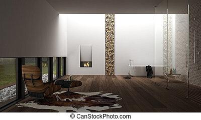 Diseño de interiores del baño, spa