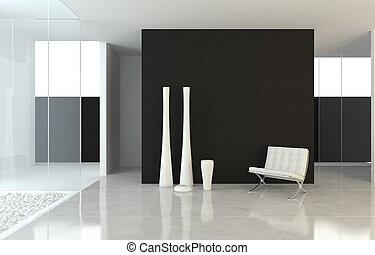 diseño de interiores, moderno, b&w