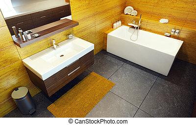 Diseño de interiores modernos de un baño