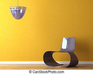 Diseño de interiores silla púrpura moderna en la pared naranja