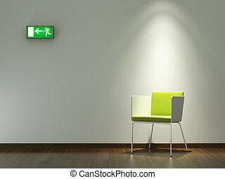 Diseño de interiores silla verde en la pared blanca