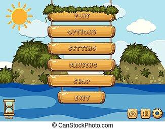 Diseño de juegos con océano en el fondo