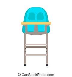 Diseño de la infancia de vector de la silla alta. Niños dibujos animados asientos de muebles planos. Comida para la mesa de la comida