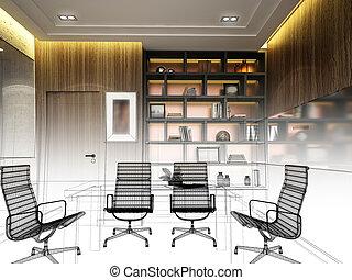 Diseño de la sala de conferencias de interiores en 3D