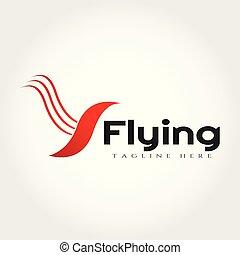 Diseño de logo de pájaro volador