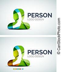 Diseño de logo de personas hecho de piezas de color
