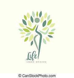 Diseño de logo de vida saludable con silueta abstracta de hojas humanas y verdes. Armonía con la naturaleza. El emblema del vector plano para el estudio de yoga o el centro de bienestar