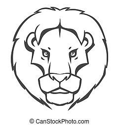 Diseño de logo-emblema de leones aislado en el fondo blanco