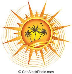 Diseño de logo tropical dorado