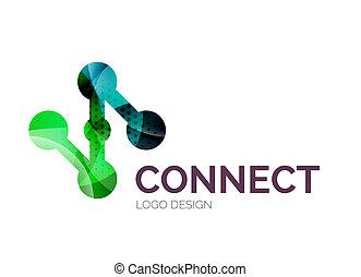 Diseño de logotipo de conexión hecho de piezas de color