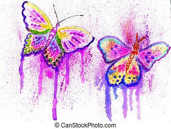 Diseño de mariposas pintadas