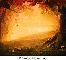 Diseño de otoño, bosque en otoño