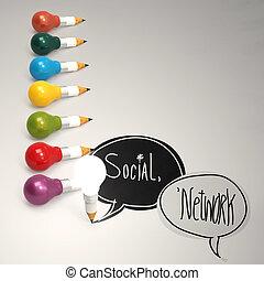 Diseño de palabra NETWORK SOCIAL y bombilla 3D como concepto