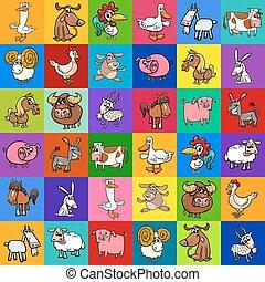 Diseño de patrones con animales de granja de dibujos animados