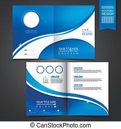 Diseño de plantilla azul para folletos de publicidad
