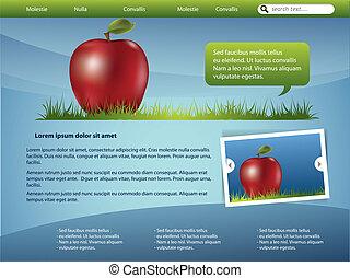 Diseño de plantilla web con manzana