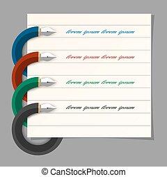 Diseño de plumas de colores estilizados para infográficos, presentación de pasos, diseño web
