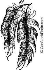 Diseño de plumas grunge