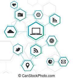 Diseño de red abstracto con iconos