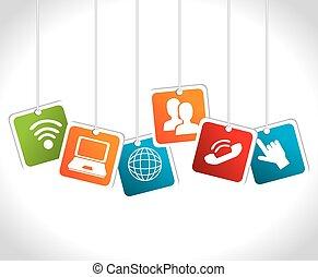 Diseño de redes sociales, ilustración vectorial.