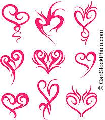 Diseño de símbolos del corazón