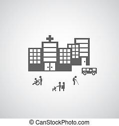 Diseño de símbolos del hospital