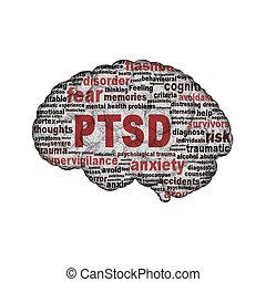 Diseño de simbolo PTSD aislado en el fondo blanco
