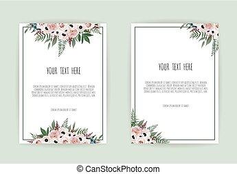Diseño de tarjetas de invitación botánicas de boda, flores blancas y rosas sobre fondo blanco.