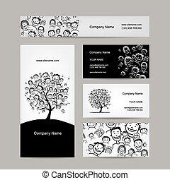 Diseño de tarjetas de negocios, árbol de personas